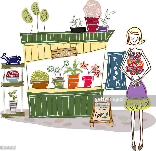 ilustraciones, imágenes clip art, dibujos animados e iconos de stock de florist standing by flower store - puesto de mercado