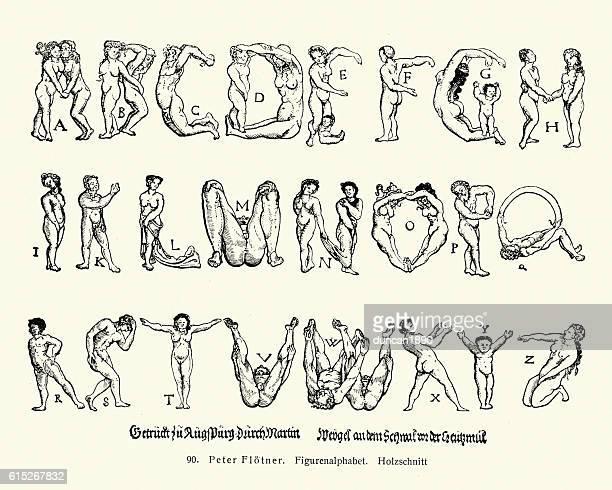 Flotner's Menschenalphabet, Human Alphabet, 16th Century
