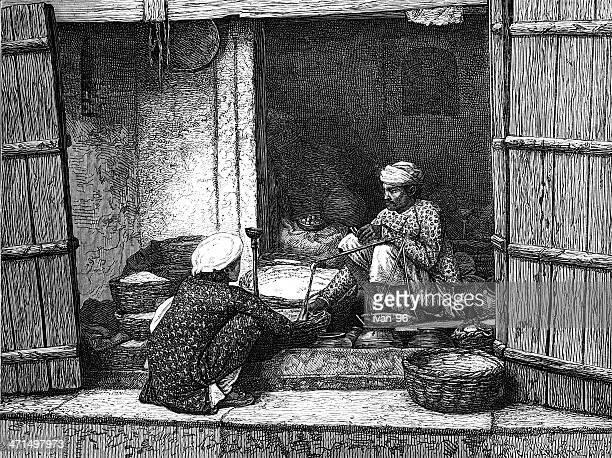 flour and grain merchant - ancient stock illustrations