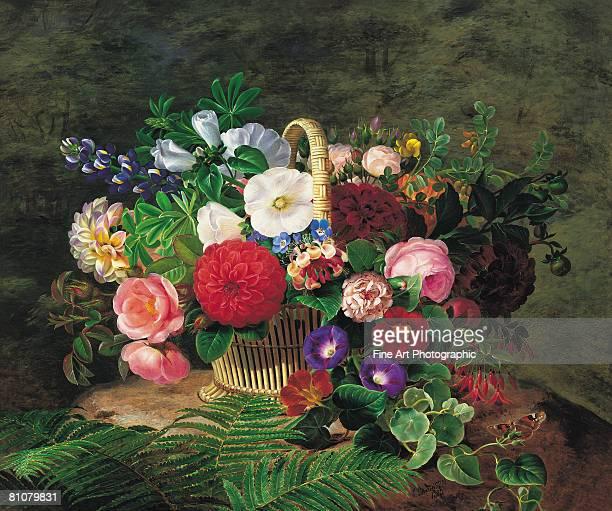 flower basket - 1840 1849 stock illustrations