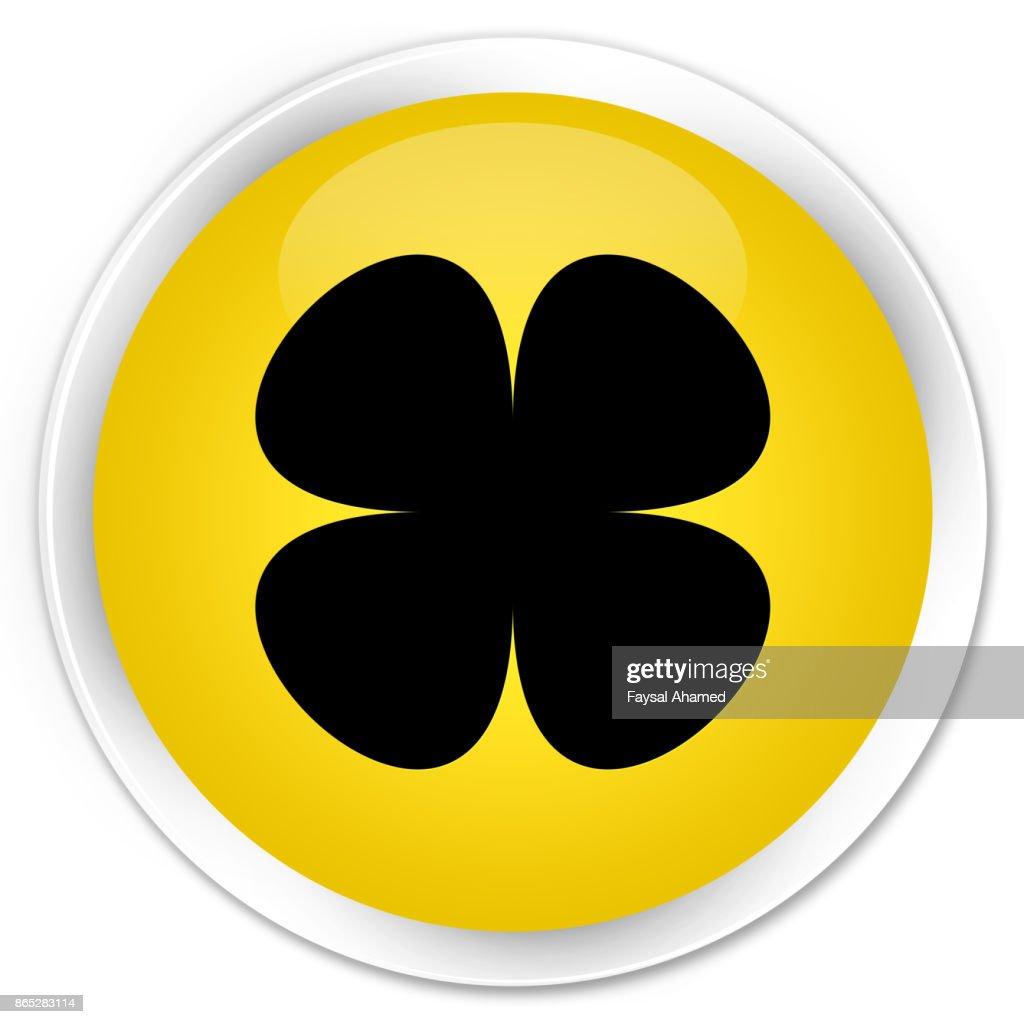 Flower Leaf Icon Premium Yellow Round Button Stock Illustration