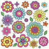 Flower Power Psychedelic Notebook Doodles Set