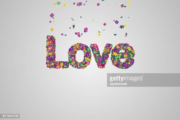 Flower Shape Writing Love Background