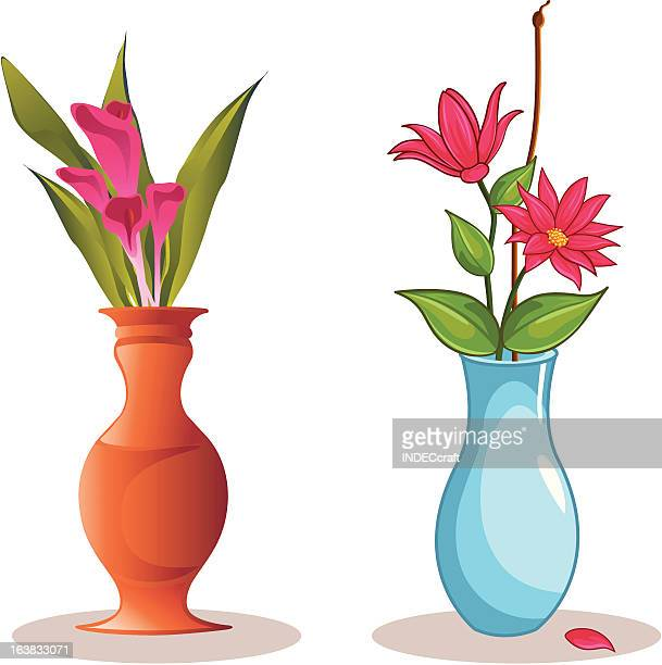 flower vase - vase stock illustrations, clip art, cartoons, & icons