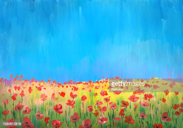 flowering field of poppies, impressionism painting - poppy stock illustrations