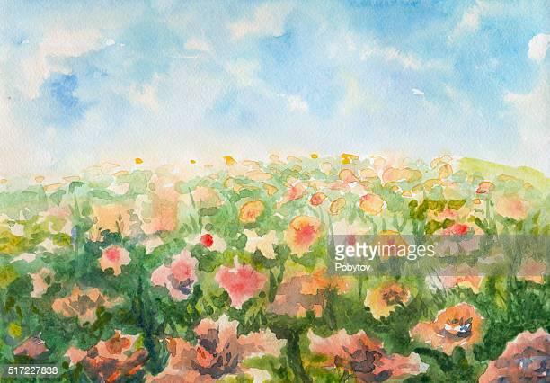 ilustrações, clipart, desenhos animados e ícones de flores prado, pintura em aquarela - flowerbed