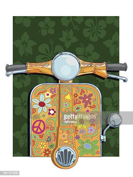 flowerpower vespa - vespa stock illustrations, clip art, cartoons, & icons