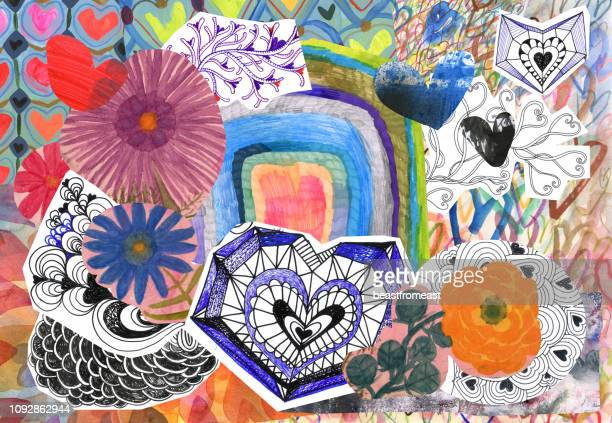 flowers and hearts collage - mixed media stock illustrations