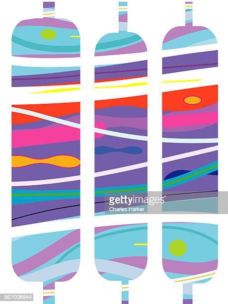 Flowing aqua marine abstract Spools of Thread pattern illustration