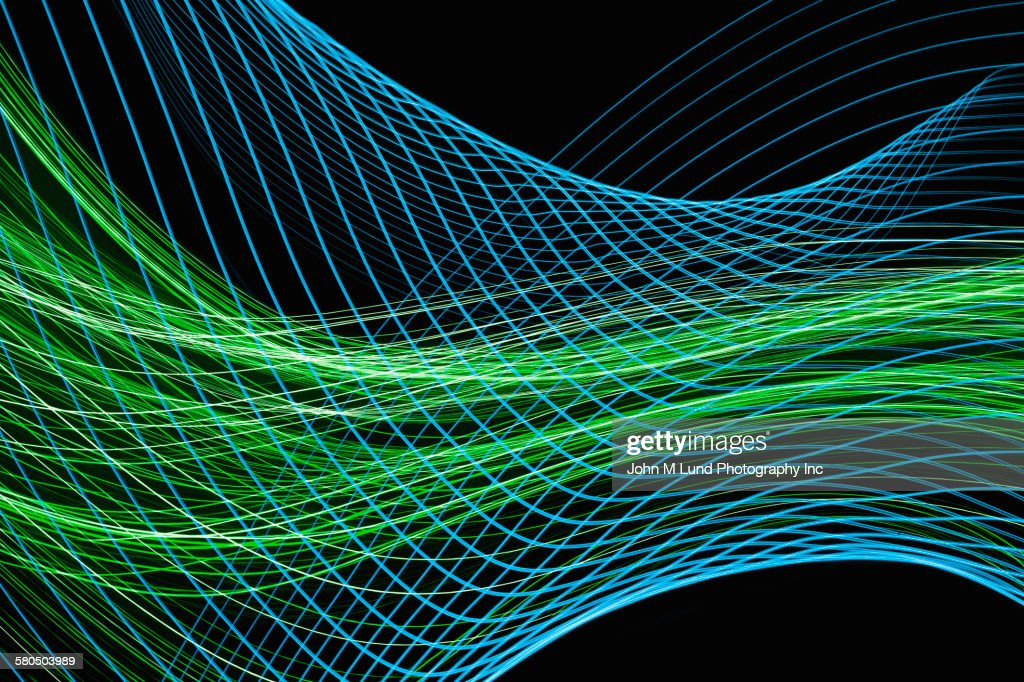 Flowing blue and green lines : stock illustration