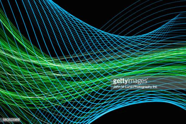 flowing blue and green lines - technology stock illustrations