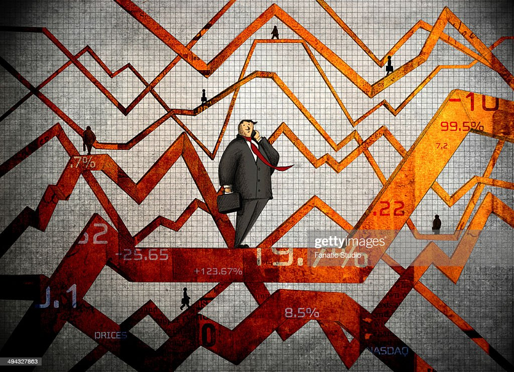 Fluctuation in stock market : Stock Illustration