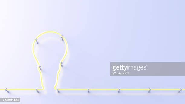 Fluorescent lamp shaping a lightbulb, 3d rendering