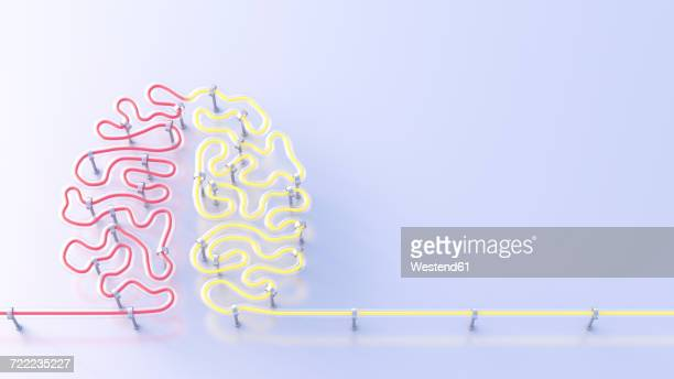 Fluorescent lamps forming brain, 3d rendering