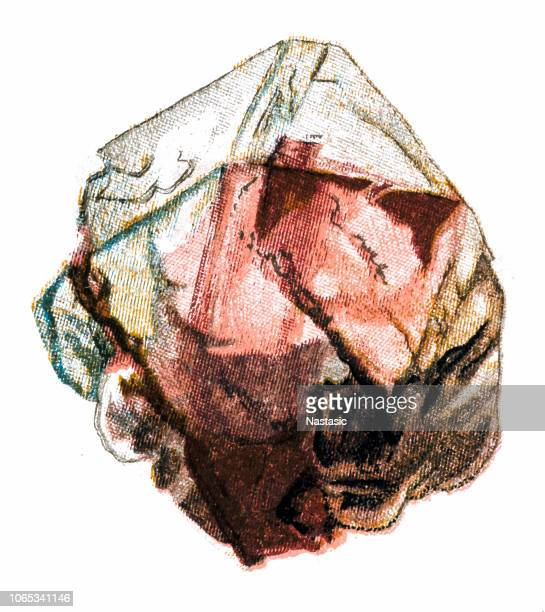 fluorite mineral stone - marble rock stock illustrations, clip art, cartoons, & icons