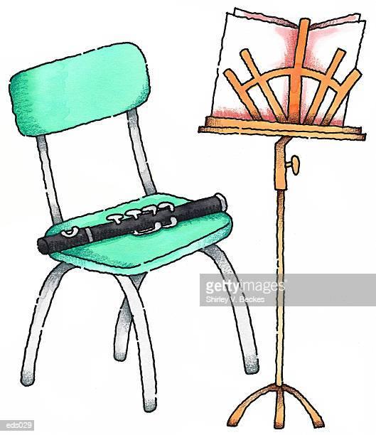 illustrations, cliparts, dessins animés et icônes de flute & music stand - pupitre à musique