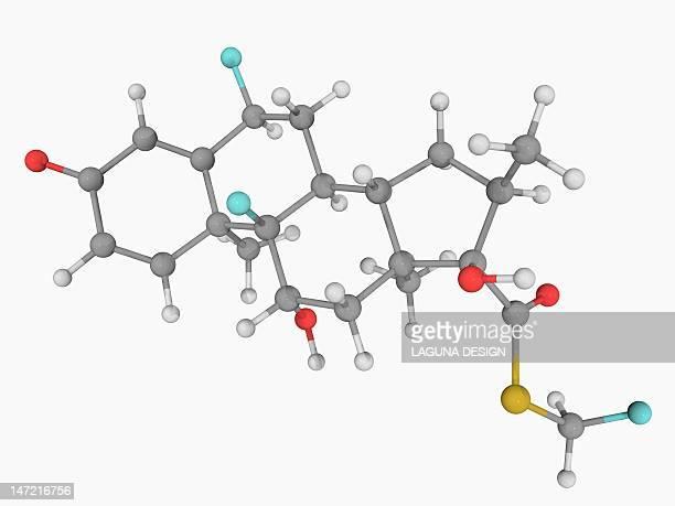 fluticasone hormone molecule - hormone stock illustrations
