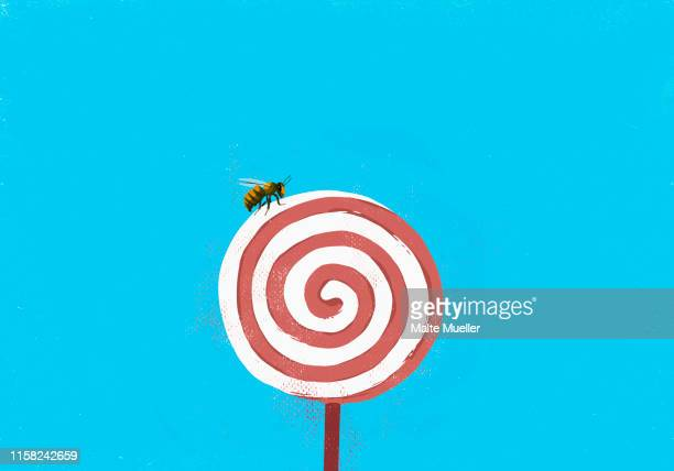 fly on pinwheel lollipop - unhealthy eating stock illustrations