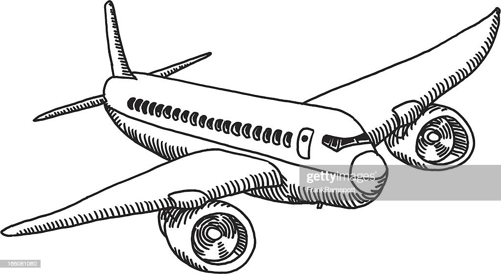 Flying Airplane Drawing : stock illustration