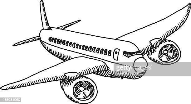 Fliegende Flugzeug Zeichnung