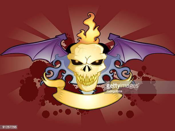 Flying and burning Skull with Ribbon