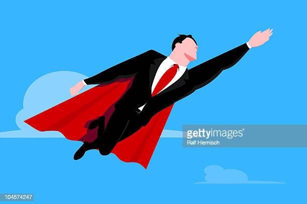 flying businessman superhero - full suit stock illustrations