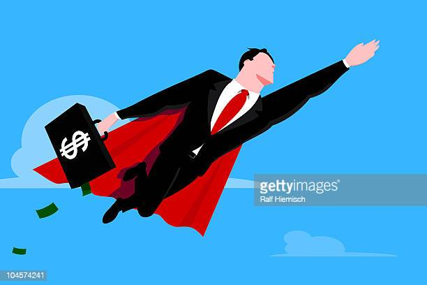 flying businessman superhero with briefcase - heroes stock illustrations