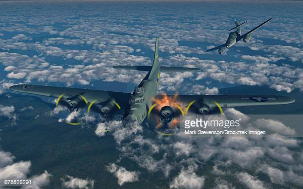 a b-17 flying fortress being attacked by a german me-262 fighter plane. - us air force stock illustrations, clip art, cartoons, & icons