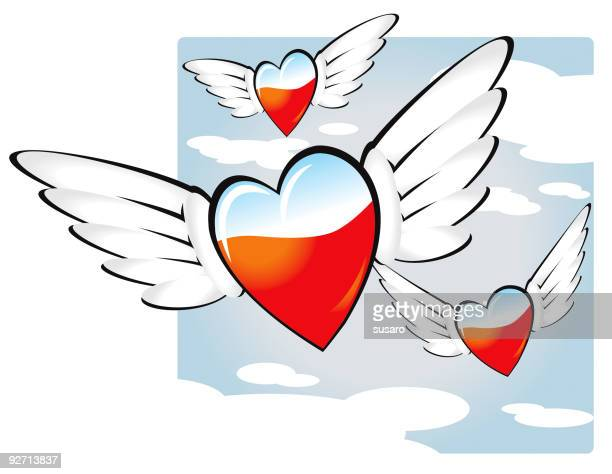 flying hearts - animal heart stock illustrations, clip art, cartoons, & icons