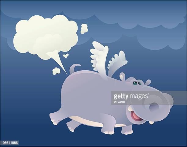 ilustraciones, imágenes clip art, dibujos animados e iconos de stock de flying hipona - pedo
