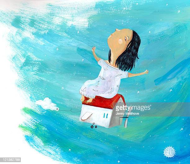 flying - one girl only stock illustrations, clip art, cartoons, & icons