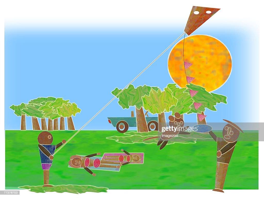 flying kites in the park : Illustration