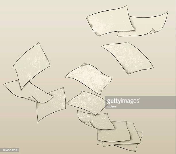 flying paper sheets - flying stock illustrations