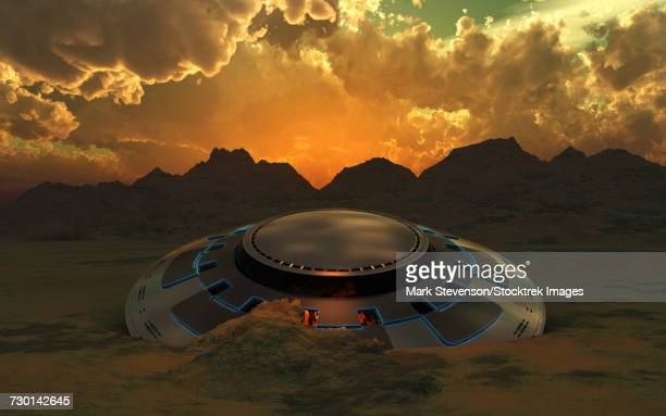 a flying saucer crashed in a desert location on earth or an alien planet. - buried stock illustrations, clip art, cartoons, & icons
