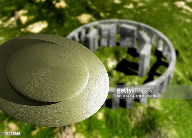 flying saucer over stonehenge, artwork - megalith stock illustrations, clip art, cartoons, & icons