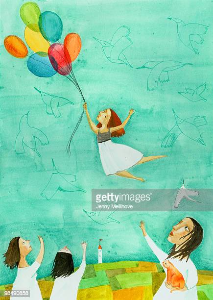 ilustrações, clipart, desenhos animados e ícones de flying to the dream - sonhador