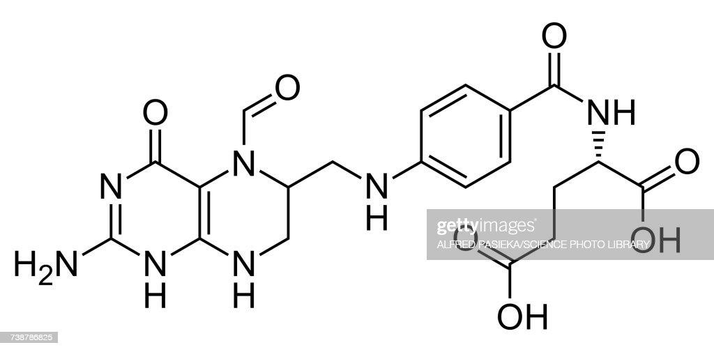Folinic acid, skeletal formula : stock illustration