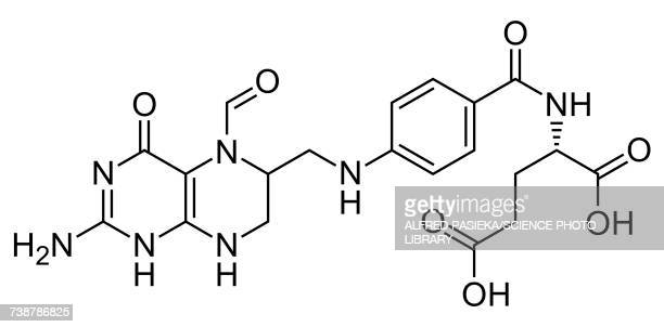 folinic acid, skeletal formula - cancer illness stock illustrations, clip art, cartoons, & icons