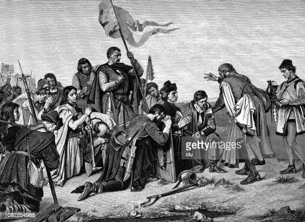 followers of johannes hus drink from the chalice before the battle - protestantism stock illustrations