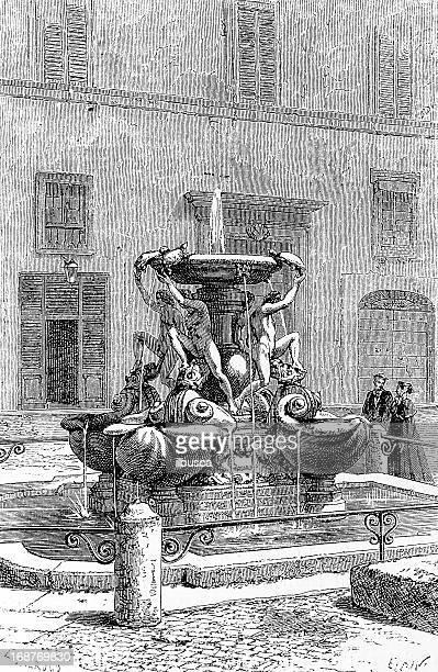 fontane delle tartarughe (the turtle fountain) in rome - fountain stock illustrations, clip art, cartoons, & icons