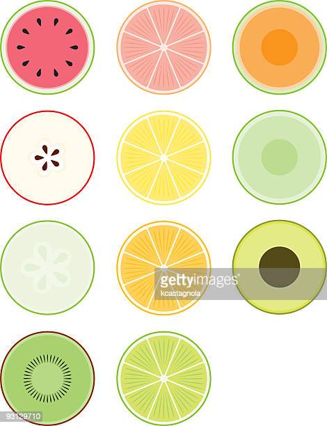 food cross-sections - orange color stock illustrations
