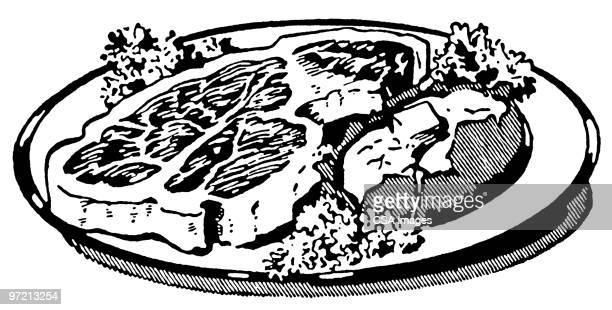 food - steak plate stock illustrations, clip art, cartoons, & icons