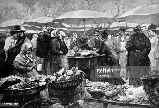 ilustraciones, imágenes clip art, dibujos animados e iconos de stock de escena de mercado de alimentos - puesto de mercado
