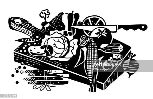 food on cutting board - serving size stock illustrations, clip art, cartoons, & icons