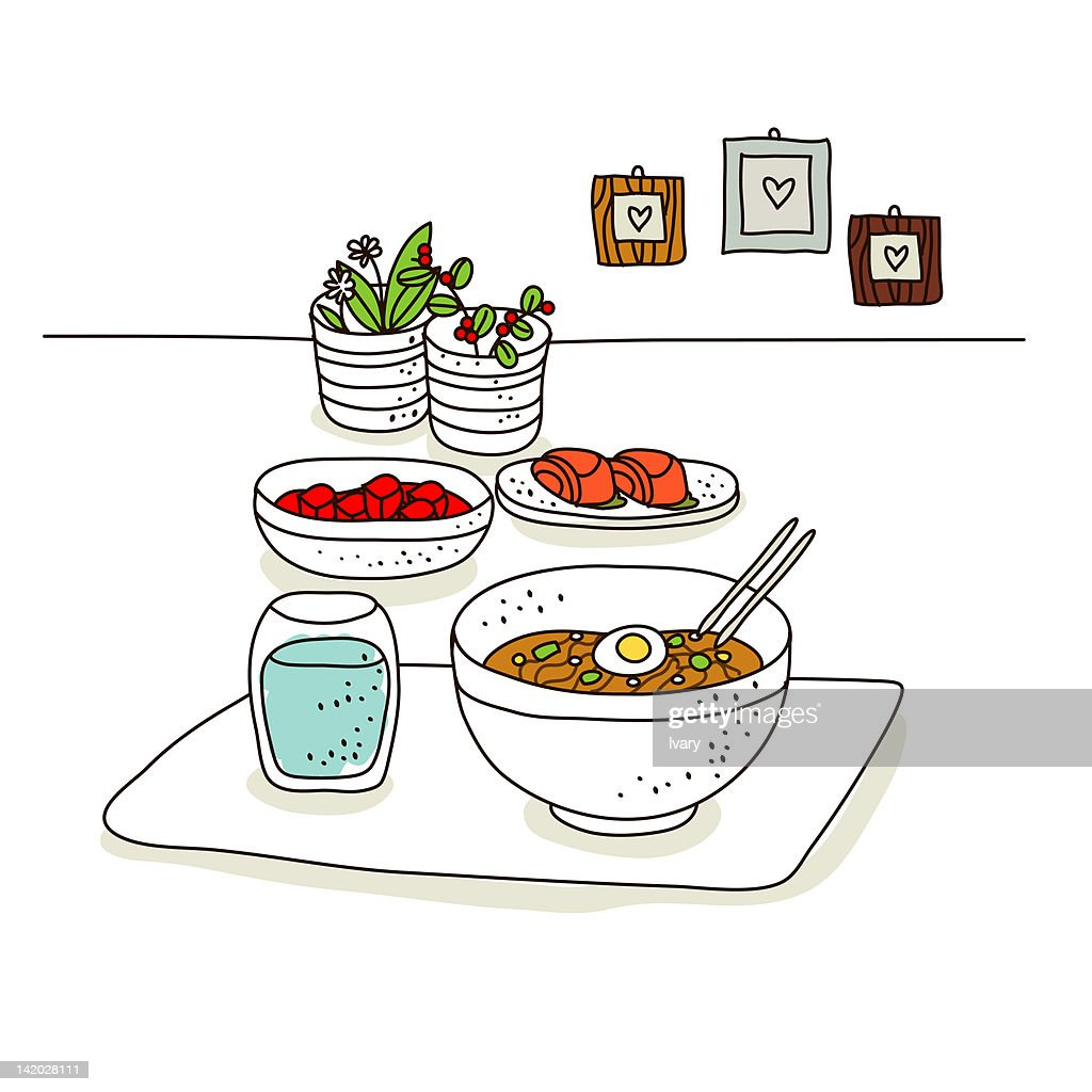 Food Stuff With Frames In The Background Stock Illustration | Getty ...