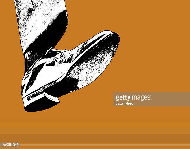 foot raised off floor, low angle view - stepping stock illustrations, clip art, cartoons, & icons