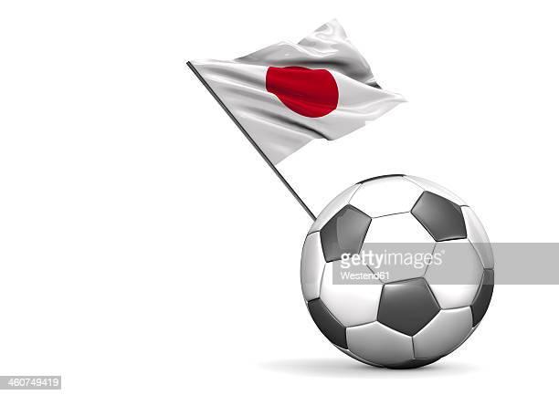 football flag of japan against white background - japanese flag stock illustrations, clip art, cartoons, & icons