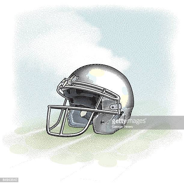 football helmet - safety american football player stock illustrations, clip art, cartoons, & icons
