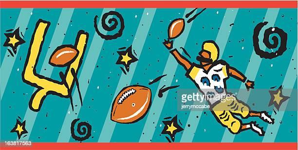 フットボール - アメリカンフットボールのフィールドゴール点のイラスト素材/クリップアート素材/マンガ素材/アイコン素材