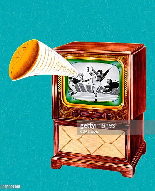 フットボールキックテレビで - 動画関連点のイラスト素材/クリップアート素材/マンガ素材/アイコン素材